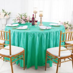 "60"" Round Ruffled Fitted Crushed Taffeta Tablecloth With Skirt - Tiff Blue / Aqua Blue 63618 (1pc/pk)"