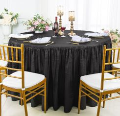 60� Round Ruffled Fitted Crushed Taffeta Tablecloth With Skirt - Black 63639 (1pc/pk)