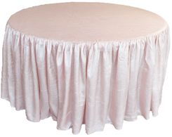 60� Round Ruffled Fitted Crush Taffeta Tablecloth With Skirt - Blush Pink 63615 (1pc/pk)