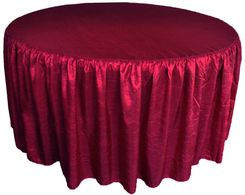 60� Round Ruffled Fitted Crush Taffeta Tablecloth With Skirt - Burgundy 63610 (1pc/pk)