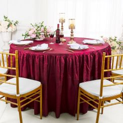 60� Round Ruffled Fitted Crushed Taffeta Tablecloth With Skirt - Burgundy 63610 (1pc/pk)