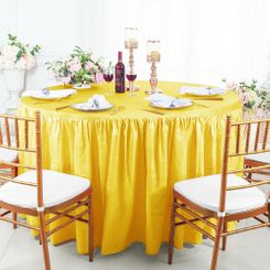 60� Round Ruffled Fitted Crushed Taffeta Tablecloth With Skirt - Canary Yellow 63616 (1pc/pk)