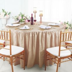 60� Round Ruffled Fitted Crushed Taffeta Tablecloth With Skirt - Champagne 63628 (1pc/pk)
