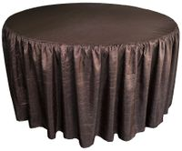 60� Round Ruffled Fitted Crush Taffeta Tablecloth With Skirt - Chocolate 63691 (1pc/pk)
