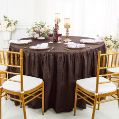 60� Round Ruffled Fitted Crushed Taffeta Tablecloth With Skirt - Chocolate 63691 (1pc/pk)