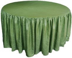 60� Round Ruffled Fitted Crush Taffeta Tablecloth With Skirt - Clover 63648 (1pc/pk)