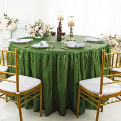 60� Round Ruffled Fitted Crushed Taffeta Tablecloth With Skirt - Clover 63648 (1pc/pk)