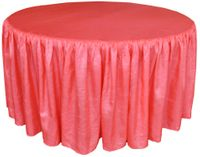60� Round Ruffled Fitted Crush Taffeta Tablecloth With Skirt - Coral 63606 (1pc/pk)