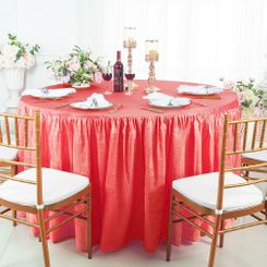 60� Round Ruffled Fitted Crushed Taffeta Tablecloth With Skirt - Coral 63606 (1pc/pk)