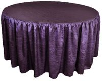 60� Round Ruffled Fitted Crush Taffeta Tablecloth With Skirt - Eggplant 63645 (1pc/pk)