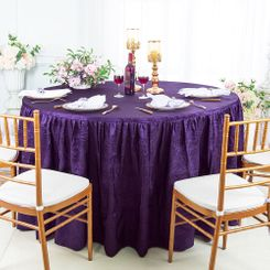 60� Round Ruffled Fitted Crushed Taffeta Tablecloth With Skirt - Eggplant 63645 (1pc/pk)