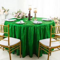 60� Round Ruffled Fitted Crushed Taffeta Tablecloth With Skirt - Emerald Green 63638 (1pc/pk)
