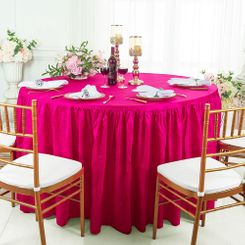 60� Round Ruffled Fitted Crushed Taffeta Tablecloth With Skirt - Fuchsia 63609 (1pc/pk)