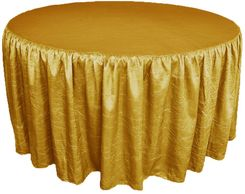 60� Round Ruffled Fitted Crush Taffeta Tablecloth With Skirt - Gold 63627 (1pc/pk)