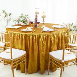 60� Round Ruffled Fitted Crushed Taffeta Tablecloth With Skirt - Gold 63627 (1pc/pk)