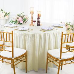 60� Round Ruffled Fitted Crushed Taffeta Tablecloth With Skirt - Ivory 63602 (1pc/pk)