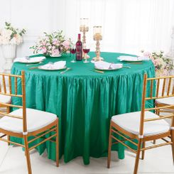 60� Round Ruffled Fitted Crushed Taffeta Tablecloth With Skirt - Jade 63626 (1pc/pk)