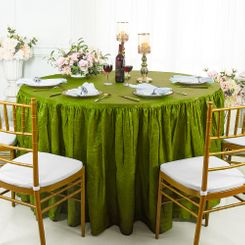 60� Round Ruffled Fitted Crushed Taffeta Tablecloth With Skirt - Moss Green 63617 (1pc/pk)