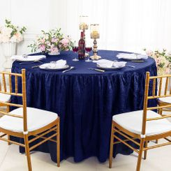 60� Round Ruffled Fitted Crushed Taffeta Tablecloth With Skirt - Navy Blue 63623 (1pc/pk)