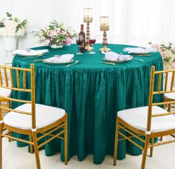 60� Round Ruffled Fitted Crushed Taffeta Tablecloth With Skirt - Oasis 63658 (1pc/pk)
