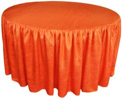 60� Round Ruffled Fitted Crush Taffeta Tablecloth With Skirt - Orange 63633(1pc/pk)