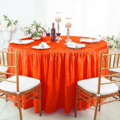 60� Round Ruffled Fitted Crushed Taffeta Tablecloth With Skirt - Orange 63633(1pc/pk)