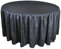 60� Round Ruffled Fitted Crush Taffeta Tablecloth With Skirt - Pewter / Charcoal 63660 (1pc/pk)