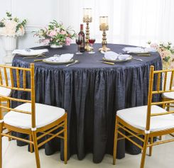 60� Round Ruffled Fitted Crushed Taffeta Tablecloth With Skirt - Pewter / Charcoal 63660 (1pc/pk)