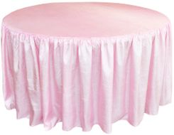 60� Round Ruffled Fitted Crush Taffeta Tablecloth With Skirt - Pink 63605 (1pc/pk)
