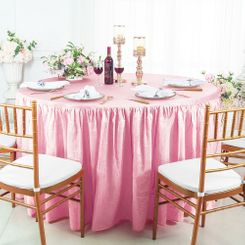 60� Round Ruffled Fitted Crushed Taffeta Tablecloth With Skirt - Pink 63605 (1pc/pk)