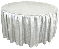 60� Round Ruffled Fitted Crush Taffeta Tablecloth With Skirt - Platinum 63650 (1pc/pk)