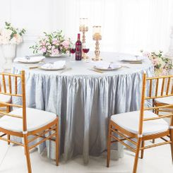 60� Round Ruffled Fitted Crushed Taffeta Tablecloth With Skirt - Platinum 63650 (1pc/pk)