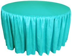 60� Round Ruffled Fitted Crush Taffeta Tablecloth With Skirt - Pool Blue 63678 (1pc/pk)