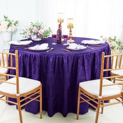 60� Round Ruffled Fitted Crushed Taffeta Tablecloth With Skirt - Regency 63663 (1pc/pk)