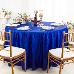 60� Round Ruffled Fitted Crushed Taffeta Tablecloth With Skirt - Royal Blue 63622 (1pc/pk)