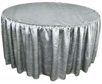 60� Round Ruffled Fitted Crush Taffeta Tablecloth With Skirt - Silver 63640 (1pc/pk)