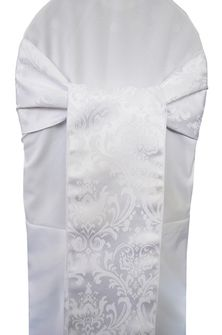 "7.5""x108"" Damask Jacquard Polyester Chair Sashes - White 96201(10pcs/pk)"