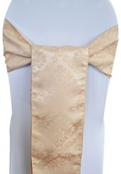 "7.5"" x 108"" Marquis Jacquard Polyester Sash - Champagne 98228(1pc)"