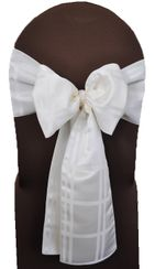 "7.5"" x 108"" Plaid Jacquard Polyester Chair Sashes - Ivory (10pcs/pk)"