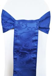 "7.5"" x 108"" Versailles Chopin Jacquard Damask Polyester Sashes - Royal Blue 92222 (10pcs/pk)"