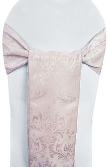 "7.5""x108"" Damask Jacquard Polyester Chair Sashes - Blush Pink 96215(10pcs/pk)"