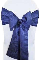 "7.5""x108"" Jacquard Damask Polyester Sash - Navy Blue 96223 (1pc)"