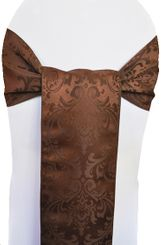 "7.5""x108"" Jacquard Damask Polyester Sashe - Chocolate 96291 (1pc)"