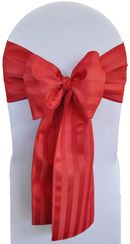 """7.5""""x108"""" Striped Jacquard Polyester Chair Sashes - Apple Red (1pc)"""