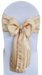 """7.5""""x108"""" Striped Jacquard Polyester Chair Sashes - Champagne (1pc)"""