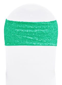 "7""x 13"" Sequin Spandex Chair Bands - Tiff Blue / Aqua Blue 00118 (10pcs/pk)"