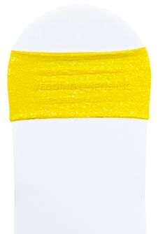"""7""""x 13"""" Sequin Spandex Chair Bands - Canary Yellow 00116 (10pcs/pk)"""