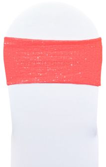 "7""x 13"" Sequin Spandex Chair Bands - Coral 00106 (10pcs/pk)"