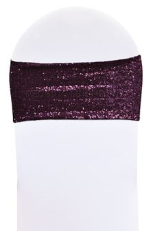 "7""x 13"" Sequin Spandex Chair Bands - Eggplant 00145 (10pcs/pk)"
