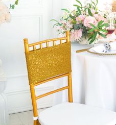 "7""x 13"" Sequin Spandex Chair Bands - Gold 00127 (10pcs/pk)"
